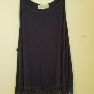 Women's Large Tank with Lace Heam T7-37